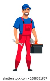 Friendly smiling man auto mechanic character wearing uniform holding toolbox and wrench in hand standing isolated on white background. Repair, tire fitting, maintenance automotive service staff