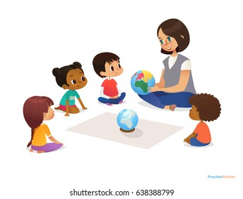 Friendly teacher demonstrates globe to children and tells them about continents. Woman teaches kids using Montessori materials during kindergarten lesson. Vector illustration for banner, website.