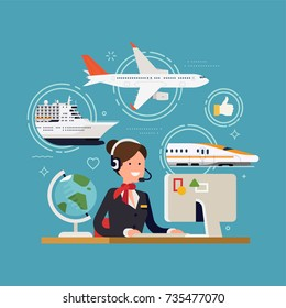 Friendly travel agent ready to serve in choosing and selling tour, cruise, airway or railway tickets or vacation package, flat design, vector. Concept illustration on travel and tourism