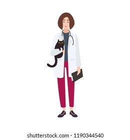 Friendly veterinary physician, veterinarian or vet wearing white coat and holding cat. Cheerful female cartoon character isolated on white background. Colorful vector illustration in flat style.