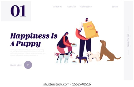 Friendly Volunteer Feeding Dogs in Animal Shelter or Pound Website Landing Page. Young Woman Giving Food to Homeless Puppies in Bowl, Man Hold Package Web Page Banner. Cartoon Flat Vector Illustration