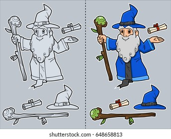 Friendly wizard in (gray and color version) with separate staff, scroll and hat