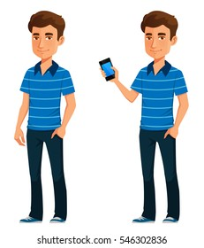 friendly young guy in casual clothes, holding a mobile phone