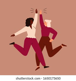 Friendly young women jumping and giving high five. Concept of female friendship and teamwork. Vector flat illustration