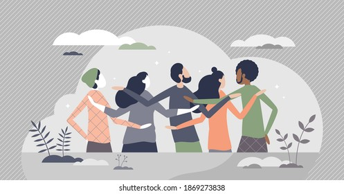 Friends back view as behind or rear look to team members tiny person concept. Meeting with social group or holding hands, hoping along scene vector illustration. Common pose in cheerful support moment