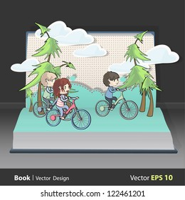 Friends with bikes inside a Pop-Up book. Vector illustration.