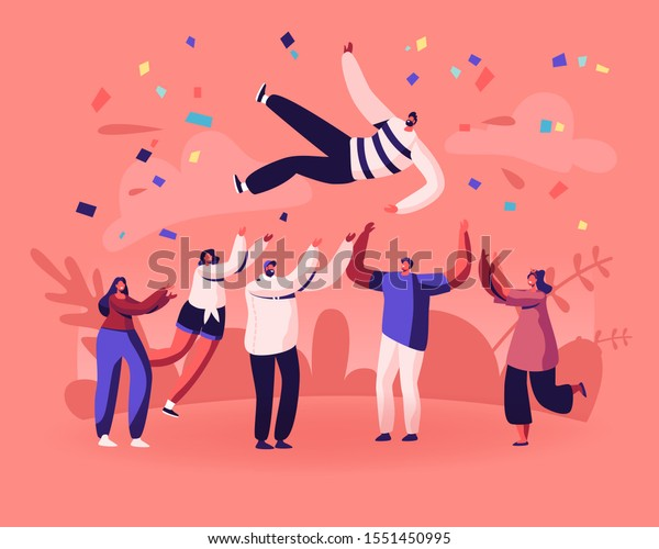 Friends Birthday Party, Business Success Congratulation. Team of Young People Tossing Up in Air Man with Confetti Flying Around. People Celebrating Victory Achievement. Flat Vector Illustration