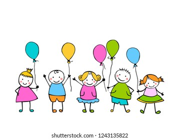 Friends. Boys and girls with balloons. Little people in the children's style