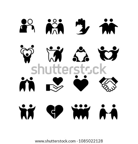 ef42b557b8c Friends, buddies, man hug line icons. Friendship, harmony and friendly  group outline