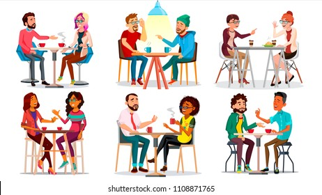 Friends In Cafeteria, Cafe Vector. Man, Woman, Boyfriend, Girlfriend Chatting. Sitting Together And Drinking Coffee. Bistro. Restaurant. Communication Breakfast Concept. Isolated Cartoon Illustration