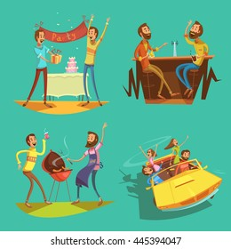 Friends cartoon set with celebration and pastimes symbols on green background isolated vector illustration