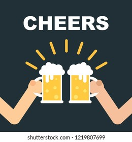 Friends celebrate with beer lager and clink glasses. Vector illustration on black background with cheers text.