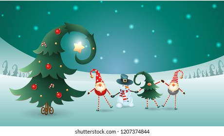 Friends celebrate Winter Solstice, Christmas and New Year. Scandinavian gnomes and snowman with decorated christmas tree. Turquoise snowy winter landscape