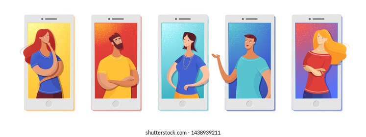 Friends chatting online flat vector illustration. Relatives using smartphones, cellphones for video conferencing, making calls. Boys, girls on phone screen, display. Mobile communication app