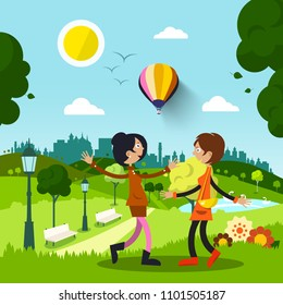 Friends in City Park. Women Meeting During Sunny Day. Vector Flat Design Nature Illustration.