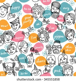 Friends at the cocktail, mask, party. Seamless pattern.