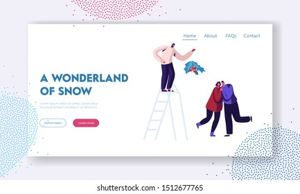 Friends Company Merry Christmas and New Year Party Celebration Website Landing Page. Happy Loving Couple Kissing under Mistletoe Branch on Xmas Party Web Page Banner. Cartoon Flat Vector Illustration