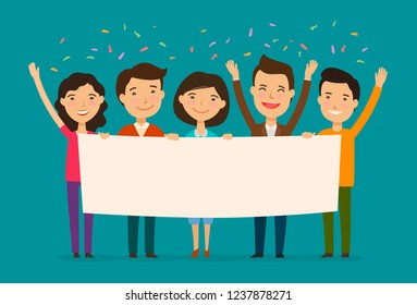 Friends congratulate on holiday. Congratulation, felicitation concept. Cartoon vector illustration