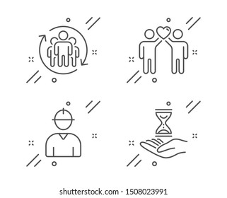 Friends couple, Engineer and Teamwork line icons set. Time hourglass sign. Friendship, Worker profile, Employees change. Sand watch. People set. Line friends couple outline icon. Vector