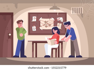 Friends in criminal quest room flat vector illustration. Woman and men investigating crime cartoon characters. People in detective escape room solving murder mystery, searching for answer