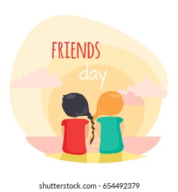 Friends day fun pastime with loved reliable friend. Two girls are closely interwoven braids. Friends sitting on beach and looking at sea surface. Vector web banner about friendship in cartoon style.