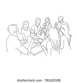 Friends dinner. Toasting with wine. Sketch on white background.