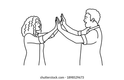 Friends doing high five. Woman and man. Hand drawn vector illustration.