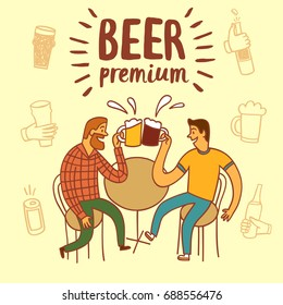Friends drinking beer. Including set of  hands with drinks and bottles. Hand drawn colorful vector cartoon illustration for your design.