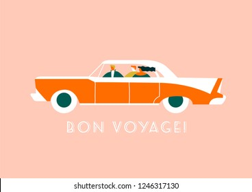 Friends driving retro 50s red sport car and having fun illustration in vector. Travel poster and card collection.