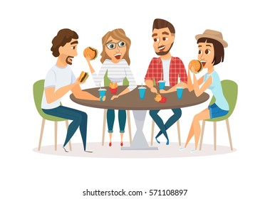 Friends eating fast food meal in restaurant. Group of happy people sitting, talking and having dinner burgers, fries and drinking soda. Young fun and smiling men and women together.
