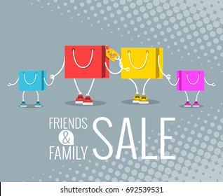 friends & family sale, Sale at low prices, Cartoon shopping bag with a smile