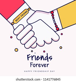 Friends forever greeting card design with hands shaking illustration on background for Happy Friendship Day celebration.