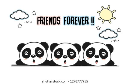 Friends forever greeting card with little animals. Cute pandas cartoon vector illustration.