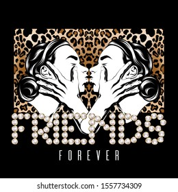 Friends forever. Vector hand drawn illustration of two kissing friends isolated. Creative tattoo artwork. Template for card, poster. banner, print for t-shirt, pin, badge, patch.
