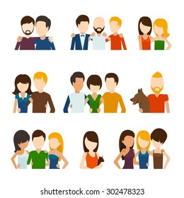 Friends and friendly relations flat icons. People social, person communication, couple human. Vector illustration