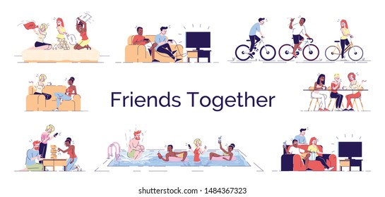 Friends fun together flat vector concept illustration. Girls, boys enjoy relax time in swimming pool. Pajama party, watching TV, playing games isolated cartoon design elements set on white background