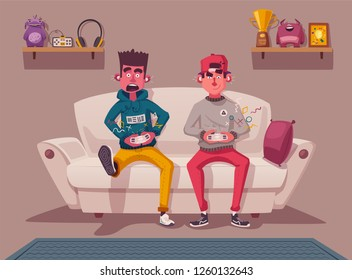 Friends is gaming. Nerd's room interior. Gamers playing video game. Cartoon vector illustration. Multiplayer screen. Online games concept