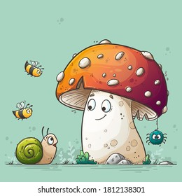 Friends get together. Fly agaric, snail, bees and spider. Hand drawn vector illustration with separate layers.