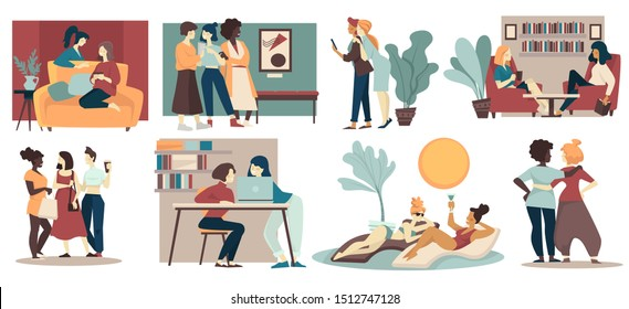 Friends girls at cafe or home, chatting or spend time together vector. Girlfriends gossiping and drinking tea or coffee, sunbathing on beach. Visiting gallery, taking selfie, working at laptop