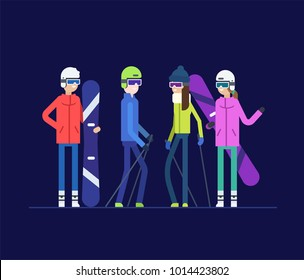 Friends goes snowboarding and skiing - modern flat design style illustration isolated on blue background. Happy cartoon characters in outfit holding equipment. Winter sports, active lifestyle theme