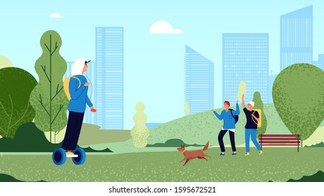 Friends greeting. Group teens meet in park, guys greet gesture. Happy friendship, youth walking with dog. Informal persons activity vector illustration