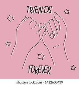 Friends hands doing a pinky promise. Drawing outlines in pink background