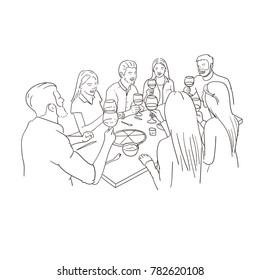 Friends having dinner. Handmade drawing on white background.