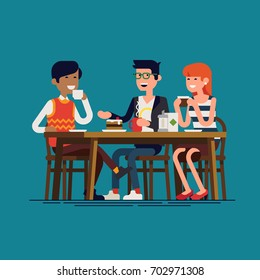 Friends having a good time together at cafe. Flat design vector character design on casually clothed male and female characters drinking coffee or tea and talking to each other. Circle of friends