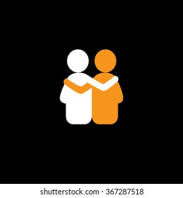 friends hug each other, deep relationship & bonding - vector icon. This also represents reunion, sharing, love, emotions, human touch, friendly embrace, support, care, kindness, empathy, compassion