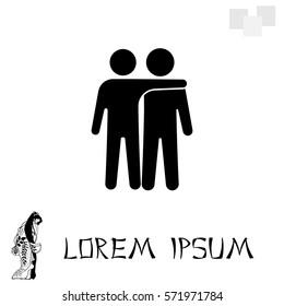 "Friends icon vector illustration. Friendship sign. ""Best friend"" symbol"