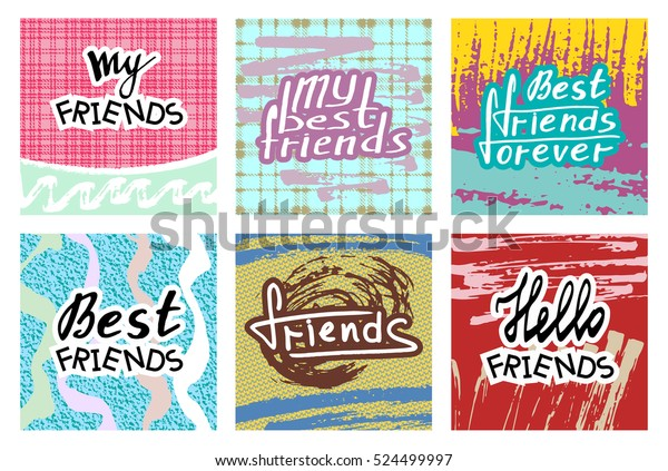Friends Invitation Cards Set Best Modern Stock Vector