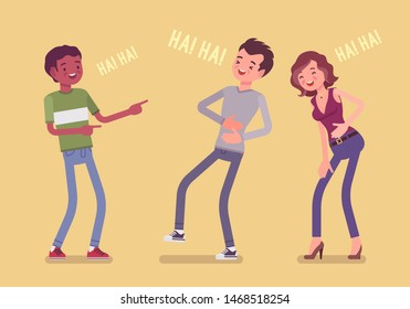 Friends joking and laughing. Happy boys and young girl enjoy together funny friendly jokes, enjoyment, amusement, deep hearty belly laugh with positive humor. Vector flat style cartoon illustration