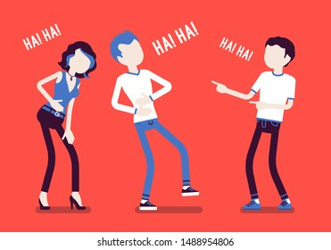 Friends joking and laughing. Happy boys and young girl enjoy together funny friendly jokes, enjoyment, amusement, deep hearty belly laugh with positive humor. Vector illustration, faceless characters