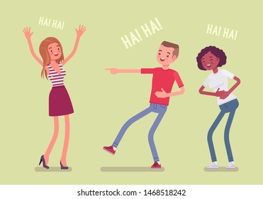 Friends joking and laughing. Happy girls and young boy enjoy together funny friendly jokes, enjoyment, amusement, deep hearty belly laugh with positive humor. Vector flat style cartoon illustration